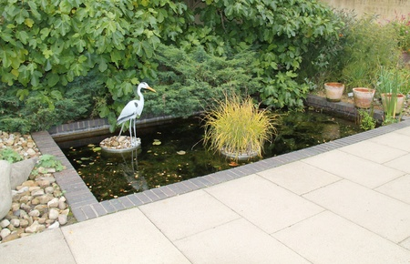 ornamental horticulture: An Ornamental Garden Pond with a Model Heron.