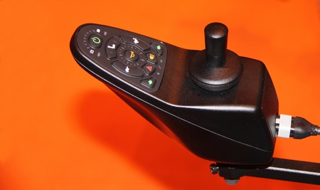 The Control Panel of a Disability Electric Wheelchair. Stock Photo