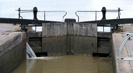 canal lock: A Traditional Set of Wooden Canal Lock Gates  Stock Photo