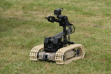robot war: A Remote Control Device Used for Bomb Disposal Work  Stock Photo