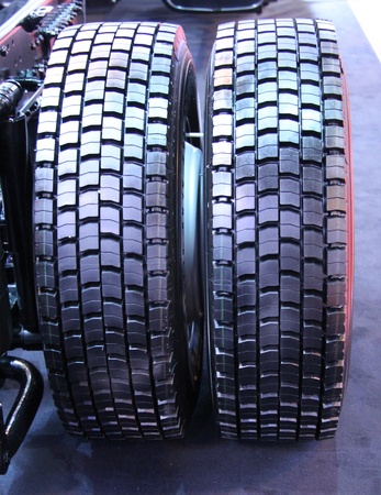 A Pair of Heavy Duty Tyres on a Lorry Truck Stock Photo - 21968088