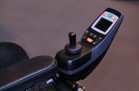 The Electric Controls of a Modern Disability Wheelchair  Stock Photo