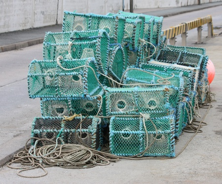 crab pots: A Pile of Crab Fishing Pots on a Quayside