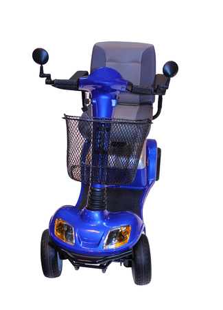 A Modern Electric Disability Scooter with Four Wheels  photo