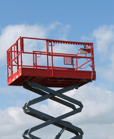 crane bucket: The Platform of a Hydraulic Lift Equipment  Stock Photo