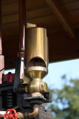 steam traction: The Brass Whistle of a Vintage Steam Traction Engine.