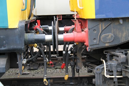 buffers: The Connectors and Buffers of Two Train Carriages. Stock Photo