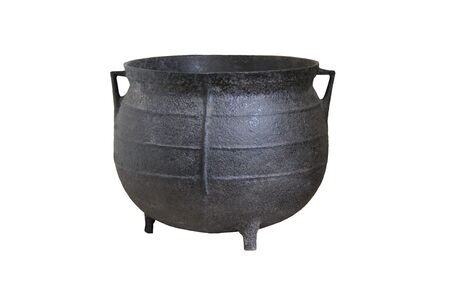 czarownica: Duża czerni żelaza Tradycyjny kocioł do gotowania. Zdjęcie Seryjne