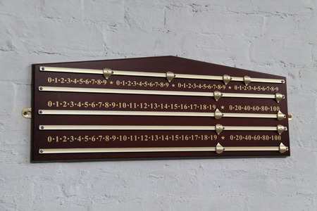 mounted: A Wall Mounted Wooden Snooker Score Board. Stock Photo