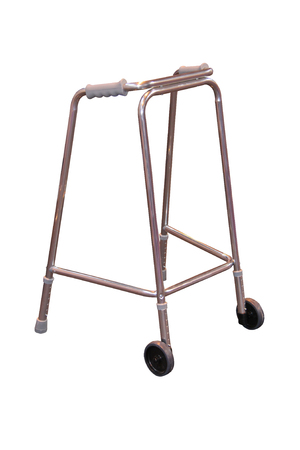 wheeled: A Stainless Steel Assistance Wheeled Walking Frame. Stock Photo
