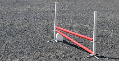 horse jump: A Simple Horse Jump on an Equine Training Ground. Stock Photo