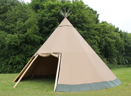 wigwam: A Large Brown Canvas Wigwam Style Tent Shelter.