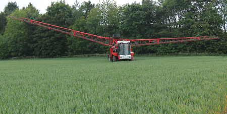 crop sprayer: A Large Self Driven Agricultural Crop Sprayer. Stock Photo