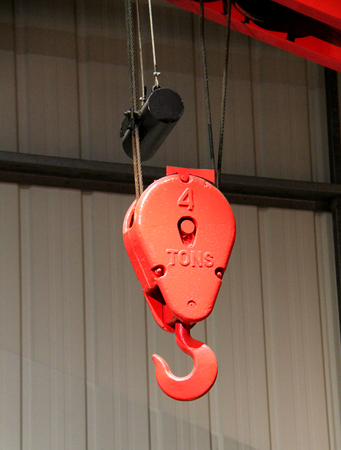 gantry: The Hook and Pulley of an Indoor Gantry Crane.