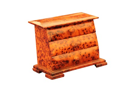 drawers: A Set of Tortoise Shell Effect Wooden Drawers. Stock Photo