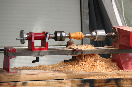 joinery: A Small Woodwork Lathe in a Joinery Workshop.