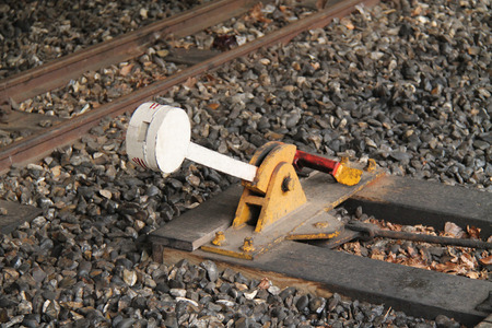 narrow gauge railway: A Classic Narrow Gauge Railway Train Points Lever. Stock Photo