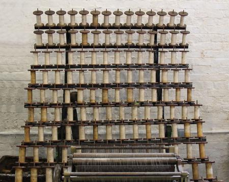 industrial heritage: An Old Lace Machine for Winding Thread onto Bobbins.