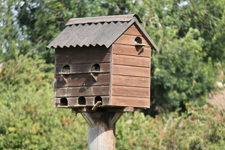 nesting: A Wooden Rustic Birds House Nesting Box. Stock Photo