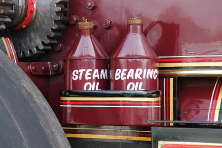 steam traction: The Oil Cans of a Vintage Steam Traction Engine.