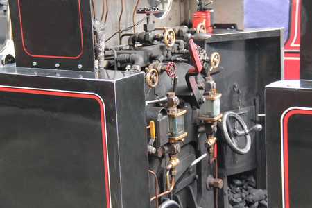 footplate: The Controls on the Footplate of a Steam Engine Train. Stock Photo