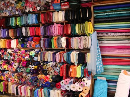 haberdashery: A Variety of Materials for Sale at a Haberdashery Store.