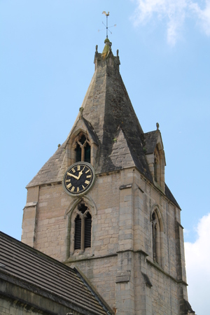 wind vane: Church Tower and Spire with a Clock Plus Wind Vane.