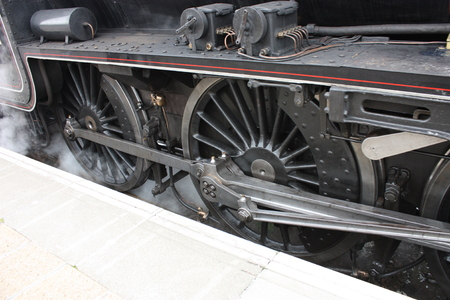 round rods: The Wheels of a Classic Railway Steam Train Engine. Stock Photo