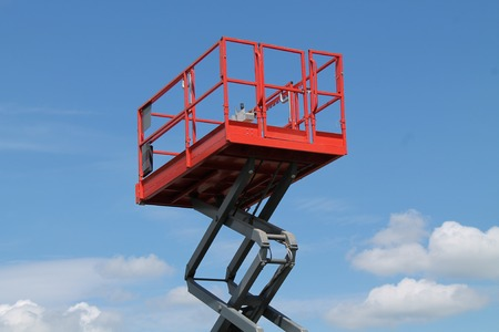hydraulic lift: The Platform Cage at the Top of a Hydraulic Lift. Stock Photo