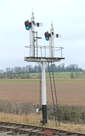 A Set of Traditional Lever Arm Railway Train Signals. Stock Photo