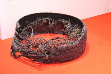 pneumatic tyres: The Shredded Remains of a Disintegrated Truck Tyre.