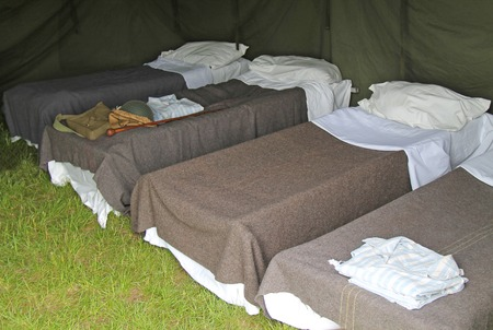 wartime: A Mock up of a Vintage Wartime Field Hospital Tent.
