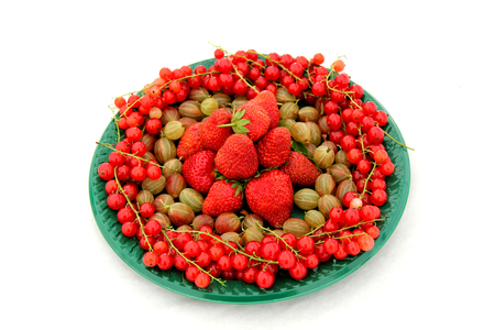 A Plate of Freshly Picked Mixed Fruit Berries.