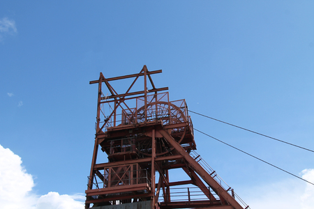 The Classic Winding Headstocks of a Coal Mine Pit.