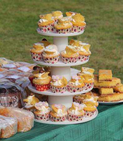 A Variety of Freshly Baked Home Made Cakes. Stock Photo