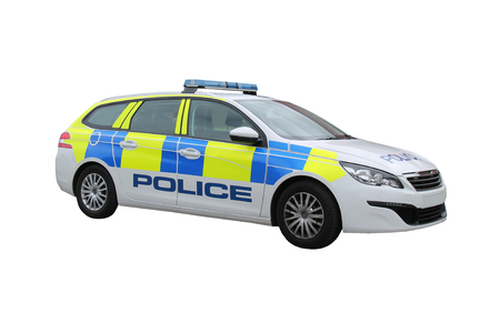A Modern Brightly Marked Police Patrol Car.
