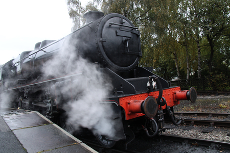 Steam Hissing From a Powerful Railway Steam Engine.