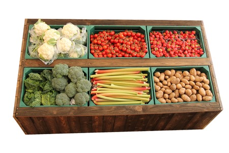A Display of Fresh Fruit and Vegetables for Retail Sale.
