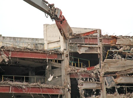 Debris Being Pulled from a Building Demolition Site.