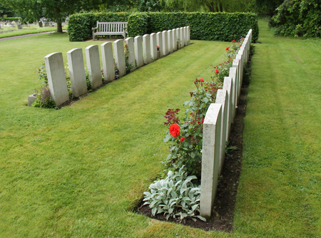 Two Lines of Formal Military Graves and Headstones. Stok Fotoğraf