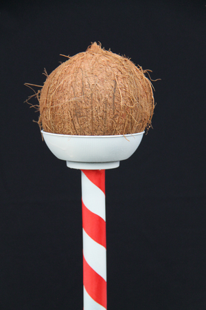 A Coconut Shy Holder on a Fun Fair Side Show Game.