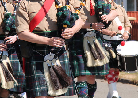 The Pipes and Drums of a Traditional Scottish Band.