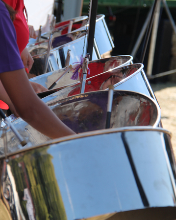 The Steel Drums of a Traditional Caribbean Band. Stock Photo - 109233555