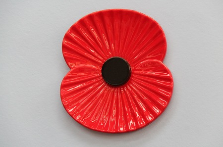 A Large Size Ceramic Red Remembrance Day Poppy. Zdjęcie Seryjne