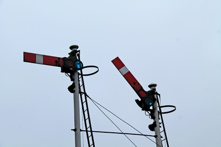 A Couple of Traditional British Train Railway Signals. Stock Photo