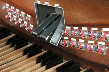 The Stops and Pedals of a Large Church Organ.