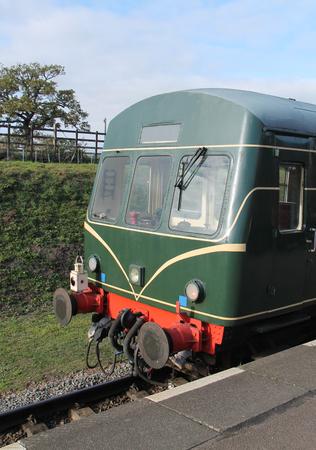 The Front of a Vintage Diesel Railcar Train Unit. Stock Photo