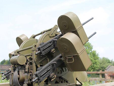 A Vintage Military Wartime Anti Aircraft Gun System.