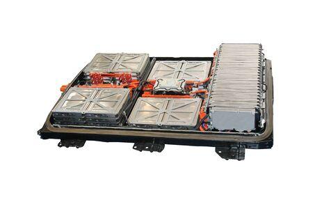 Las unidades de energía de batería de un vehículo eléctrico moderno. Foto de archivo