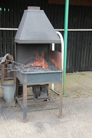 The Flames of a Coal Fired Blacksmiths Working Hearth.